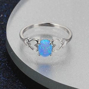 Jewelry - ARRIVED! 925 Silver Blue Opal and Hearts Ring